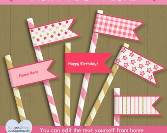 cowgirl party Straw Flags  / INSTANT DOWNLOAD pink Western theme party drink flags / #P-40 strawflags -you can edit text from home
