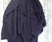Black ruffle goth bustle - Victorian steampunk bustle - scrap fabric bustle - Burning desert Man tutu skirt - burlesque bustle - no size