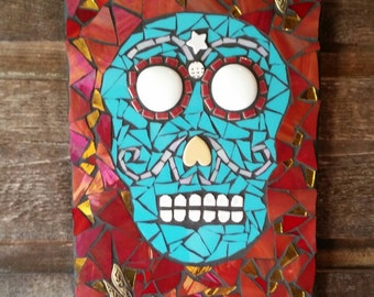 "SOLD *Day Of The Dead Mosaic Art- Original Art- "" El Diablito"" Mixed Media Mosaic Handmade- Skull Art"