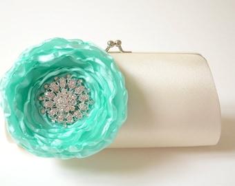 Ivory Rhinestone Bridal Clutch ~ Bridesmaid Clutch ~ Aqua Mint Flower ~ Bouquet Clutch ~ Vintage Inspired Statement Clutch ~