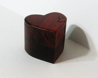 Heart Puzzle Box Made From Red Padauk Wood