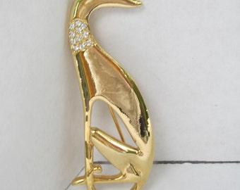 Gold Tone Greyhound Brooch with Rhinestone Collar