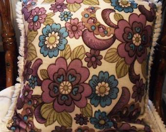 Vintage Mod PILLOW COVER Case 60's London Lilac Turquoise FLOWERS Chenille Fringes & Zipper
