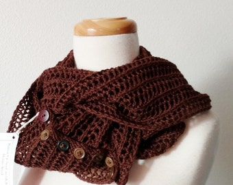 Cocoa Brown Button-Up Infinity Scarf / Cowl Hand Knit in Merino Wool and Silk Lace with Vintage Buttons - Extra Long, Lace, Mori Girl, Fall