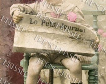 Victorian Boy Reading French Newspaper Le Petite Journal Authentically Antique Aged Digital Printable
