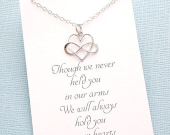Miscarriage Necklace | Infinity Heart Necklace, Loss of a Child, Miscarriage Quote, Sympathy Gift, Condolence, Infant Loss Jewelry | R04