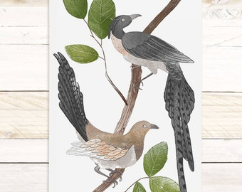 Feather and Fawn - Bird Watercolor wall hanging, wood trim art printed on textured cotton canvas, ready to hang. More Options