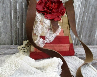 1800's Primitive American Quilt Bag with Leather Flower Small Cross Body Style by Stacy Leigh