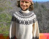 vintage 80s SKI sweater ICELANDIC wool snowflake nordic hand knit fair isle yoke Large 46