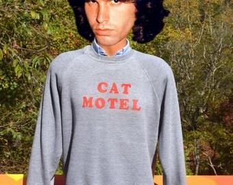 vintage 80s sweatshirt flock CAT MOTEL wtf iron on raglan crewneck Medium Large heathered gray cats