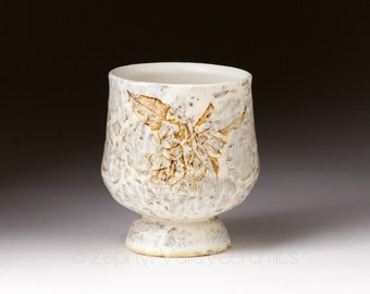 Ceramic Brandy Cup - Snifter - Pottery Wine Cup - Juice Cup - Pottery Glass - Handleless Mug - White Cup - Cherry Blossoms