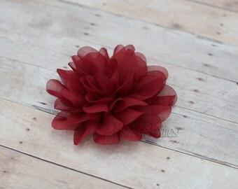 Garnet Flower Hair Clip - Petal Flower- Flower Hair Clip - Alligator Clip - With or Without Rhinestone Center