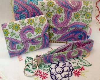 "Amy Butler's Paisley Fabric 3 pc Quilted Wallet Set ""Free Shipping"""