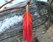 Red Phoenix Feather - Leather Firebird Pendant - 3 inches