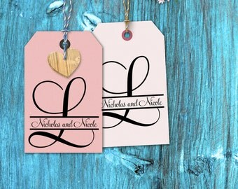 Custom monogram rubber stamp Initial with names through it for wedding decorations --13022-CB17-000