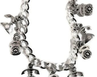 Talking on the telephone silver tone bracelet 18-21cm