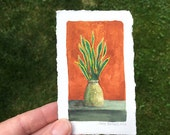 Tiny Snake Plant Original Painting OOAK