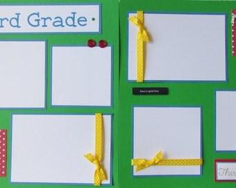 School 12x12 Premade Scrapbook Pages --THIRD GRADE layout -- elementary school days, school album, boy, girl, first day, last day