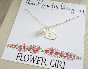 Personalized Flower Girl gift, flower girl necklace with message card, solid sterling silver initial necklace with freshwater pearl necklace