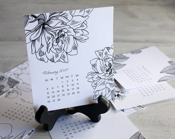 SALE - 2017 Desk Calendar with Wooden Easel Stand – Black and White Florals
