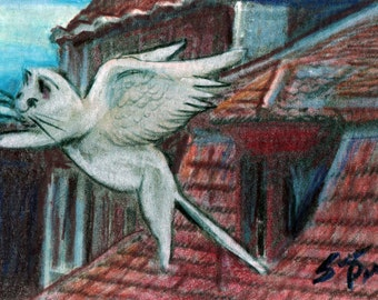 original art drawing aceo card flying cat above rooftops