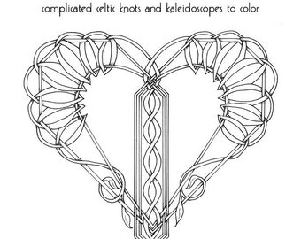 Coloring Book for adults,  PDF instant download, Valentine's Celtic Knots and Kaleidoscopes