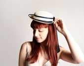 Vintage 1960s Straw Boater Hat - Light Off White Cream with Black Ribbon Bow
