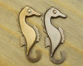 Seahorse Charm - 1 pc - Brass Seahorse - Nautical Charms - Beach Charms - Choose Your Finish - Patina Queen