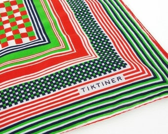 Tiktiner France 1960's - 1970's Vintage Mod Green and Red Graphic Cotton Designer Scarf