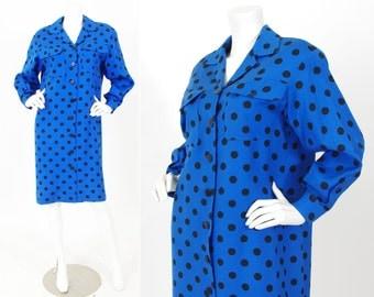 Celine 1980's Vintage Blue and Black Polka-Dot Collared Shirt Dress
