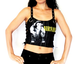 Nirvana shirt crop top lace up heavy metal alternative clothing apparel reconstructed rocker clothes altered band tee t-shirt