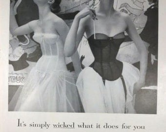 Warner's Bras Merry Widow 1950s Vintage Advertising Wall Art Decor E121