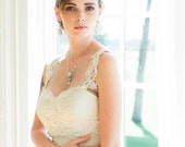 "Crystal Pearl Bridal Necklace | Handmade Lace Art Deco Inspired Wedding Jewelry |  ""Victorine"""