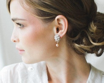 "Small Bridal Stud Earrings | Blush Pearl & Lace Wedding Drop Earrings | Vintage Inspired, Edwardian Wedding | ""Rosamonde"""