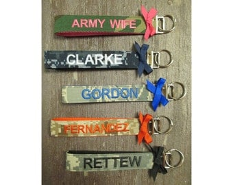 Military Wristlet, Army, Navy, Air Force, Marine Name Tape Key Chain, Personalized Military Key chain, Military Key Fob with a bow