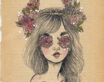 End tales - original drawing on vintage book page