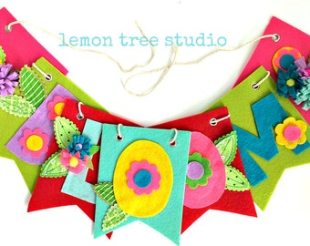 Colorful BLOOM Bunting Banner Garland -- Just in Time For Spring!
