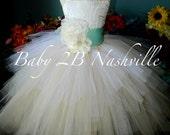 Wedding Flower Girl  Tulle Dress in Ivory Lace  with Robins Egg Aqua Chiffon Flower Sash Tutu Dress  All Sizes Girls