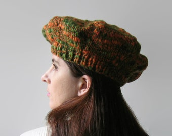 Knitted Beret, Tweed Green Orange, Wool Hat, Womens Hat, Winter Hat, Wool Beret, Chunky Knit Hat, French Beret, Tam O Shanter, Cute Hat SALE