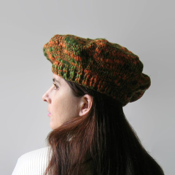 Tam O Shanter, Knitted Beret, Tweed Green Orange, Wool Hat, Womens Hat, Winter Hat, Wool Beret, Chunky Knit Hat, French Beret, Cute Hat SALE