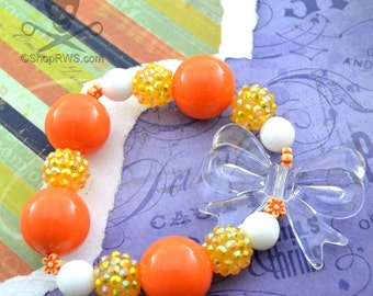 CANDY CORN - BRIGHT Orange Bubblegum Bead Yellow Iridescent Berry Beads Tiny Orange Flower Beads Clear Bow Iridescent Bead Stretch Bracelet
