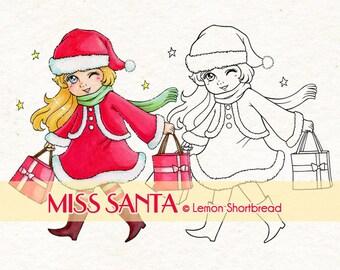 Digital Stamp Christmas Santa Girl, Digi Download Gift Merry Xmas, Present, Clip Art Graphic, Coloring Page, Scrapbooking Supplies