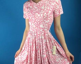 Unworn Vintage 50s Pink + White Print Fit 'n' Flare Dress + Jacket 2pc NWT XS/S NOS