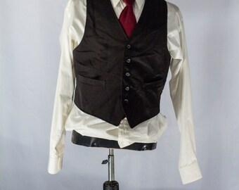 Men's Suit Vest 39 / Vintage Black Pinstripe Waistcoat / Size 39 Medium - Large #2084