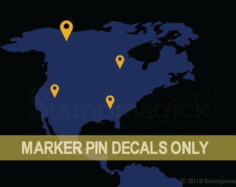 Map Pins Wall Decal Stickers -  map markers icons vinyl stickers in assorted sizes - use with world map, US map, or any map decal - K369