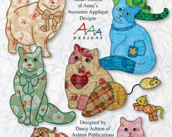 Claire's Cats -- Applique in the Hoop for Embroidery Machines -- Digitized Designs on Thumb Drive