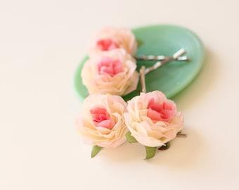 Pink rose hair clips, Flower hair pin set, Pink bridal hair clips, Bobby pin pink rose