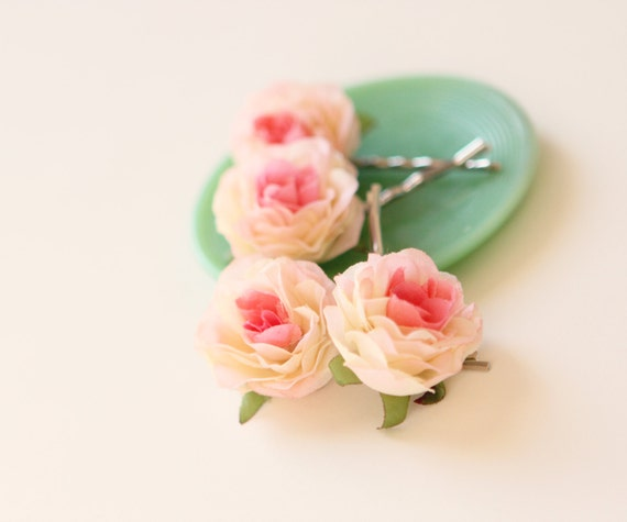 Pink rose hair clips, Flower hair pin set, Pink bridal hair clips, Bobby pin pink rose