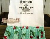 Junkin Queen Kitchen dish towel Shabby Prairie Farmhouse cotton Tattered ruffles ECS RDT