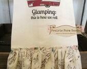 Glamping Camping Shabby cotton Kitchen dish towel French postcard Tattered ruffles ECS RDT